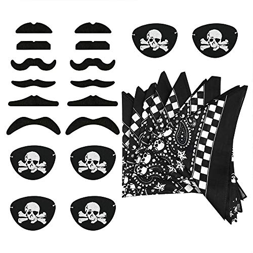 Pirate Eye Patches Pirate Bandana Fake Mustaches Costume Party Favors Captain Pirate Costume Accessories Boys Girls Kids 24PCS