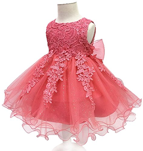 (Shiny Toddler Little Girls Lace Applique Birthday Party Flower Girl Dress with Petticoat,4 to)