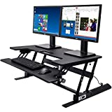 Electrical Desk Riser/Standing Desk/Sit to Stand Desktop 36' Wide Fits 2 Monitors 24' Enlarged Detachable Keyboard Tray Electrical Motor with 2 Button Height Adjusting, USB Charging Port
