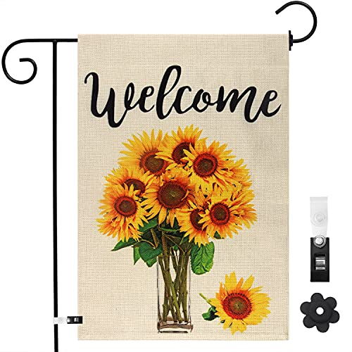 Welcome Sunflower Garden Flags 12×18 Inch Double Sided Vertical Yard Outdoor Decoration with Garden Flag Stopper and…
