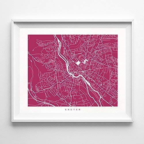 Amazon Com Exeter England Street Road Map Poster Home Decor Print