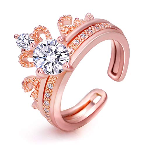 LicLiz Adjustable Crown Ring Set, Solitaire Engagement Ring with Princess Tiara Design Wedding Band ()