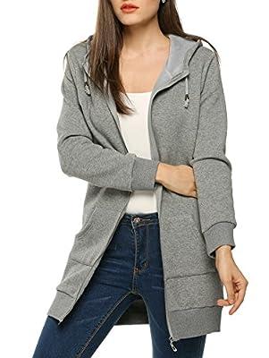 Elesol Women Winter Casual Long Sleeve Hooded Zipper Hoodies Sweatshirt Coat With Fleece