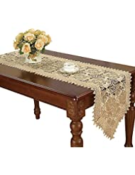 Simhomsen Beige Table Runners and doilies Scarves Embroidered Rose Flowers 16 × 36 Inch