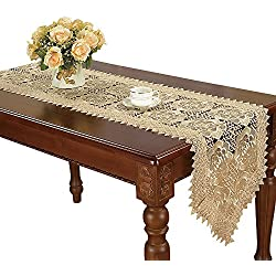 Simhomsen Beige Lace Table Runner And Dresser Scarf Embroidered Rose Flower 16 By 72 Inch Long