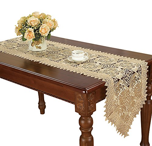 Simhomsen Beige Table Runners and doilies Scarves Embroidered Rose Flowers 16 × 36 Inch ()