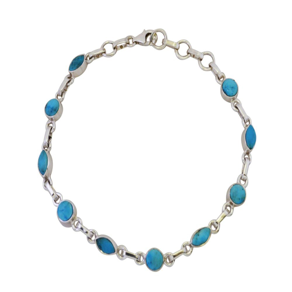 Genuine Turquoise Bracelet For Women & Girls Mixed Shape Sterling Silver December Birthstone L 6.5-8 Inch 55Carat 55CTTURBT05-6.5