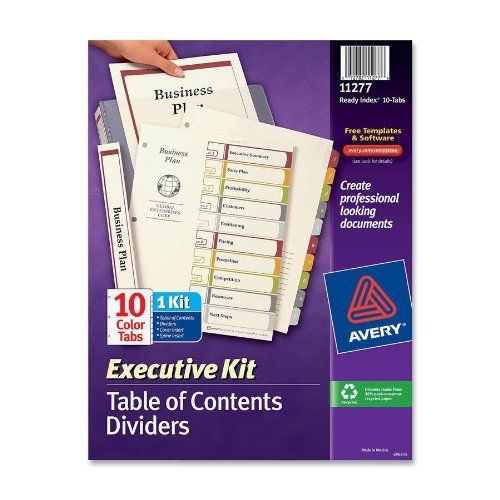Avery Executive Ready Index Table/Contents Dividers, 10-Tab, 1-10, Letter, Assorted, 10 per Set - Index Ready Table Executive