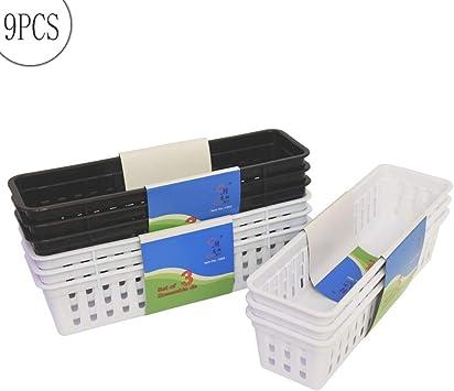 Slim Plastic Storage Trays Baskets in White Set of 3