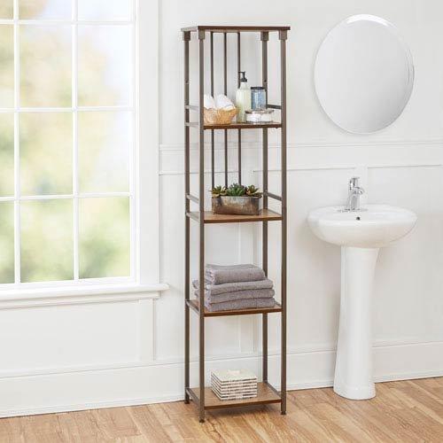 North Oaks Ava Bathroom Collection 5-Tier Linen Shelf, Gunmetal Light Oak Storage Tower