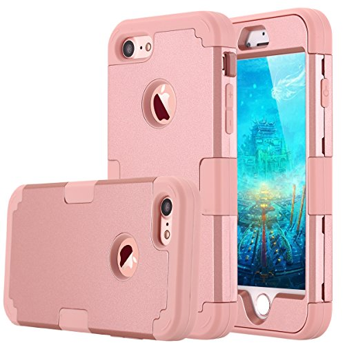 LONTECT Compatible iPhone 7 Case Hybrid Heavy Duty Shockproof Full-Body Protective Case with Dual Layer [Hard PC+ Soft Silicone] Impact Protection for Apple iPhone 7 - Rose Gold