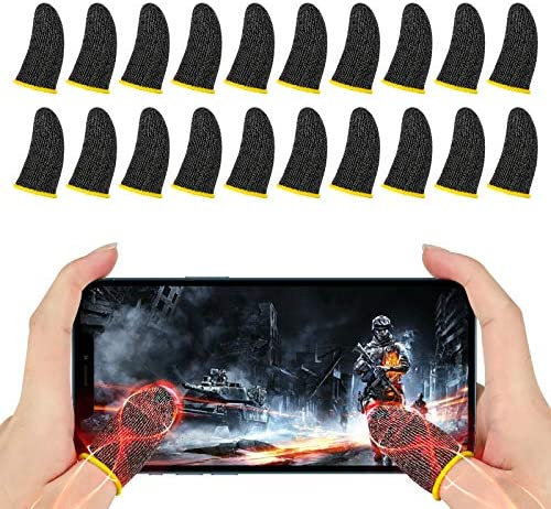 Newseego Finger Sleeve Sets for Gaming Mobile Game Controller Thumb Sleeves [20 Pack], Anti-Sweat Breathable Touchscreen Sensitive Aim Joysticks Finger Set for Rules of Survival/Knives Out (Yellow)