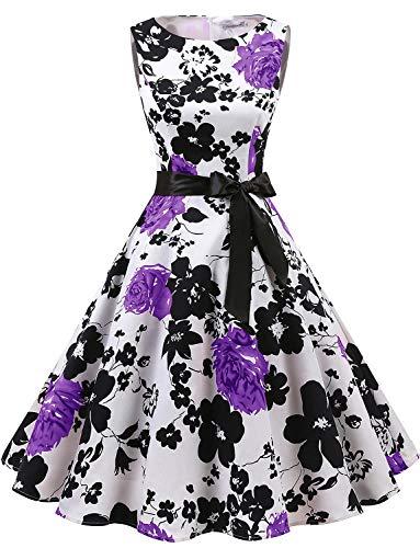 Gardenwed Women's Audrey Hepburn Rockabilly Vintage Dress 1950s Retro Cocktail Swing Party Dress White Lavender Flower XS