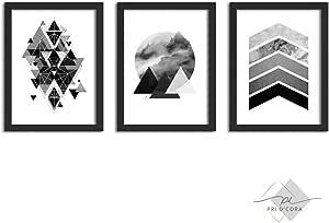 Kit 3 Quadros Decorativos Com Moldura Geométrico Abstrato Preto e Branco