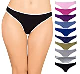 Cotton Underwear Women 10 Thong Pack - No Show Panties, Seamless Sexy Breathable