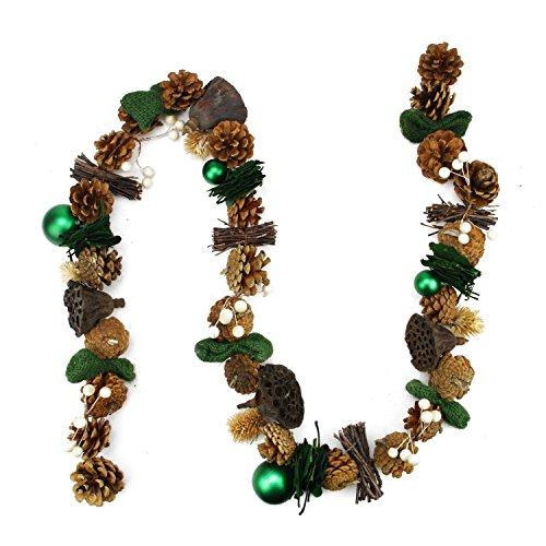 [해외]Northlight Unlit Green Burlap 소나무 콘 및 베리 인공 크리스마스 Garland, 5 '/Northlight Unlit Green Burlap Pine Cone and Berry Arti