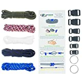 Paracord Bracelet & Project Kit – 550 Parachute Cord, Buckles, Carabiners, Key Rings – (Starter & Hardware Kits Include Paracord Needle & Forceps) – Made in USA