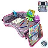 Moditty   Kids Travel Tray Bundle with Back Seat Car Organizer   Activity Play Table for Toddlers in Car Seats, Airplanes, Strollers (Pink)