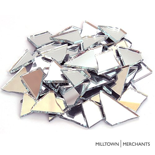 Milltown Merchants™ Mirrored Glass Cobbles (1 Pound) – Reflective Stained Glass – Broken Glass for Stepping Stones, Crafts, and Mosaic Making