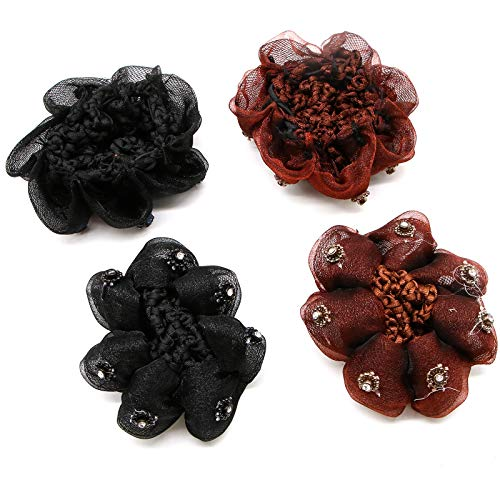 WSSROGY Pack of 4 Pcs Crystal Floral Snood Net Barrette Hair Net Women Bun Cover Ballet Dance Polka Hair Accessories,Black and Coffee