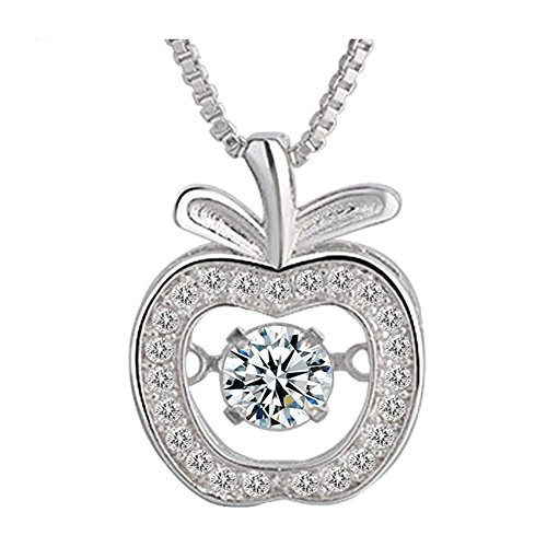 Diamond Apple Pendant - Spiritlele Crystal Apple Pendant Cubic Zirconia Silver Dancing Stone Necklace for Women
