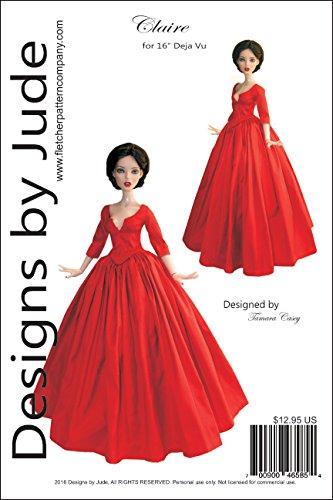 "Outlander Claire Dress Printed Sewing Pattern for 16"" Deja Vu Dolls Tonner"