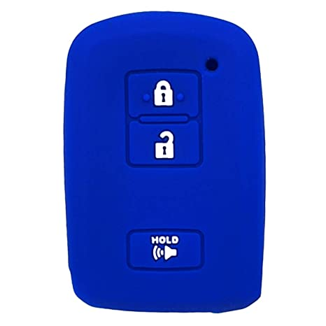 2Pcs WERFDSR Sillicone key fob Skin key Cover Keyless Entry Remote Case Protector Shell for 2016 2017 Toyota Tacoma Land Cruise Rav4 HV Prius V 3 button smart remote red blue