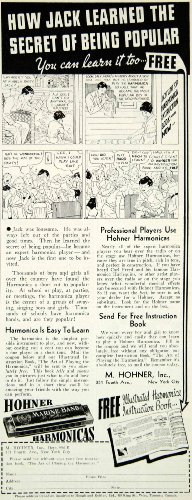 1936 Ad M Hohner Harmonica Jack Comic Strip 351 Fourth Ave NY Musical Instrument - Original Print Ad from PeriodPaper LLC-Collectible Original Print Archive