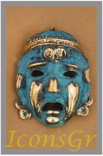 Griego antiguo Bronce Museo Estatua réplica de teatro máscara de tragedia (411)