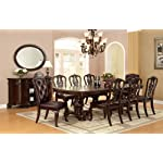Furniture of America Evangelyn 7-Piece Dining Set with Wooden Chairs, Cherry