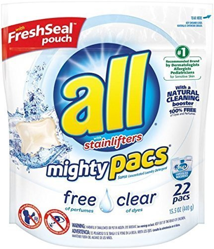 Mighty Concentrated Liquid (All Mighty Packs Free Clear, Super Concentrated Laundry Detergent Packs, 22 Count (Pack of 2))