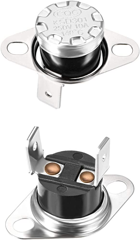 uxcell KSD301 Thermostat 140C/284F 10A Normally Closed N.C Adjust Snap Disc Limit Control Thermal Switch Microwave Thermostat Silver Tone 2pcs