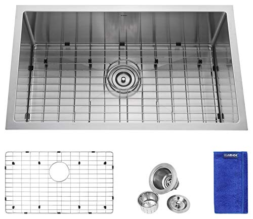 Enbol SD3018, 30 Inch Undermount Single Bowl Stainless Steel Kitchen Sink, Premium T304, 16 Gauge, 10 Inch Deep, 10mm Radius Corner Easy Clean, With Protective Bottom Grid and ()
