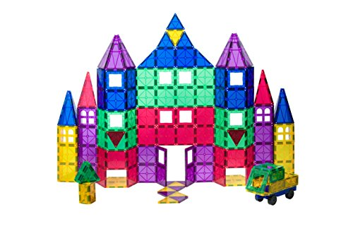Playmags 100-Piece Clear Colors Magnetic Tiles ...