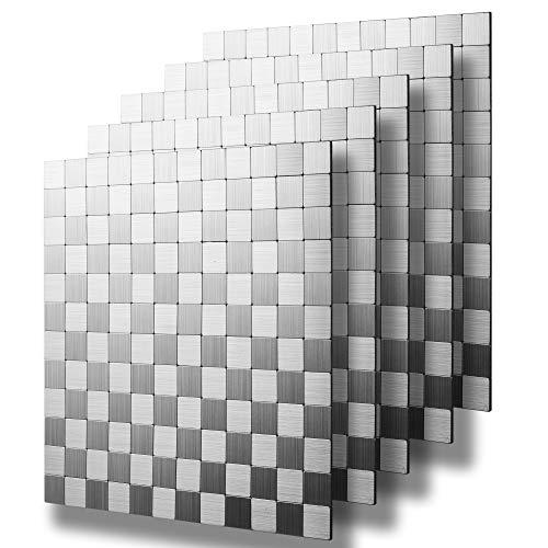 STICKGOO 12 x 12 Metal Peel and Stick Tile, Stick on Tiles for Kitchen Bathroom Backsplash 5 Pcs