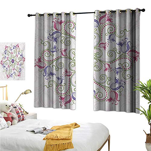 Luckyee Thermal Insulating Blackout Curtain,Mandala,55