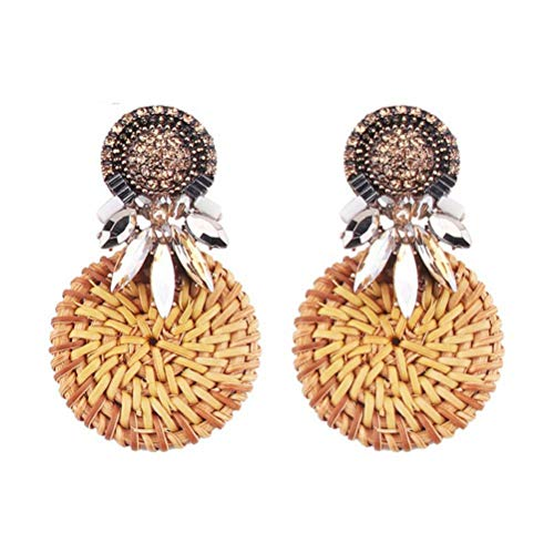 Crystal Earrings for Women Trendy Handmade Bamboo Rattan Weaving Dangle Drop Earrings Jewelry