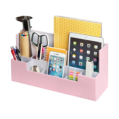 Desk Supplies Office Organizer Caddy (Pink, 13.4 x 5.1 x 7.1 inches) -