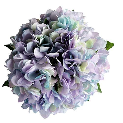 Silk Hydrangea Flowers Fake Flowers Artificial Hydrangea 6 Heads Bridal Wedding Bouquet for Home Garden Party Wedding Decoration 6Pcs ()