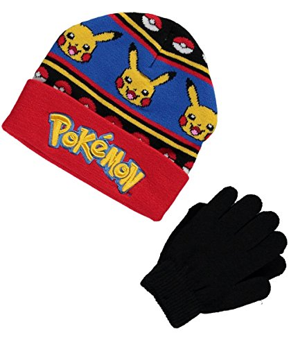 Pokemon Strategy Lines Beanie & Gloves Set - red/Multi, (Multi Weather Line)