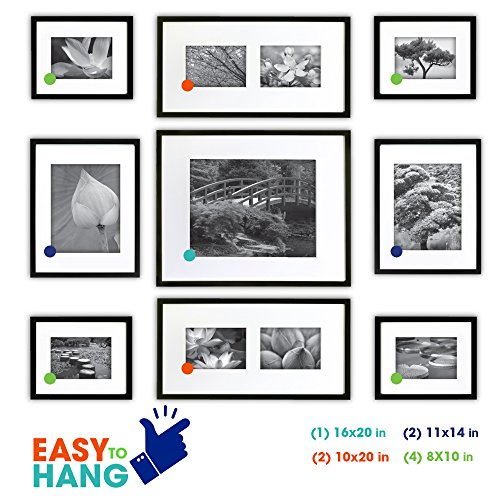Gallery perfect 9 piece black wood photo frame wall for Picture hanging template kit