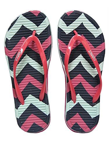 - riemot Women's Flip Flops Thong Sandals Colorful Summer Beach Slippers Stripes Pink Blue 8
