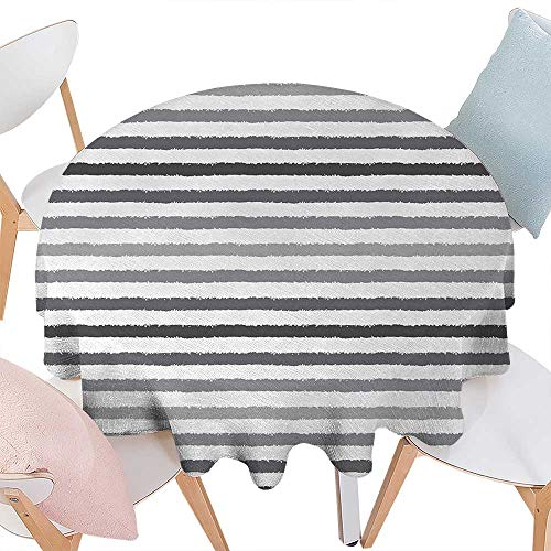 inted Round Tablecloth Gray and White Stripes Monochrome Tone Brush Style Lines Grunge Retro Digital Print Flannel Round Tablecloth D70 White Grey ()