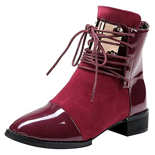 Jamron Women Punk Metal Style Cool Patent PU Leather Chunky Heel Ankle Boots Autumn Winter Warm Fluff Lining Zip Boots Red SN02701 US8