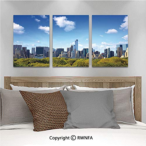 3Pc Creative Wall Stickers Manhattan Skyline with Central Park in New York City Midtown High Rise Buildings Bedroom Kids Room Nursery Dinning Wall Decals Removable Art Murals,19.7