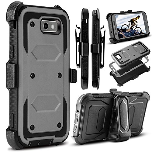 Galaxy J3 Emerge Case, J3 2017 Case, Amp Prime 2 Case, Venoro Heavy Duty Shockproof Full Body Protection Rugged Hybrid Case Cover with Swivel Belt Clip and Kickstand for Samsung J3 Prime (Grey)