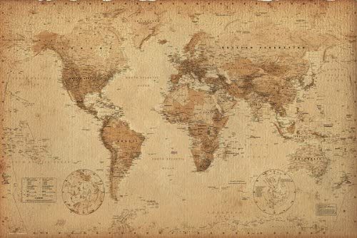 World Map Antique Style Poster Canvas Picture Art Print Premium Quality