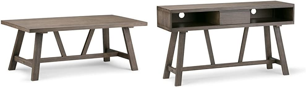 Simpli Home Dylan Coffee Table, Driftwood + Simpli Home Dylan TV Media Stand, Driftwood :Bundle
