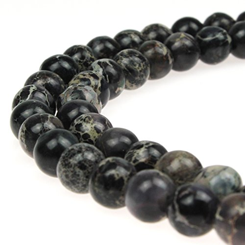 8mm Imperial - JarTc Natural Stone 6 Colors Sea Sediment Imperial Jasper Round Loose Beads for jewelry Making (8mm, black)