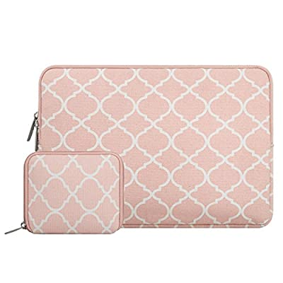 Mosiso Quatrefoil Style Canvas Fabric Laptop Sleeve Bag Cover with a Small Case